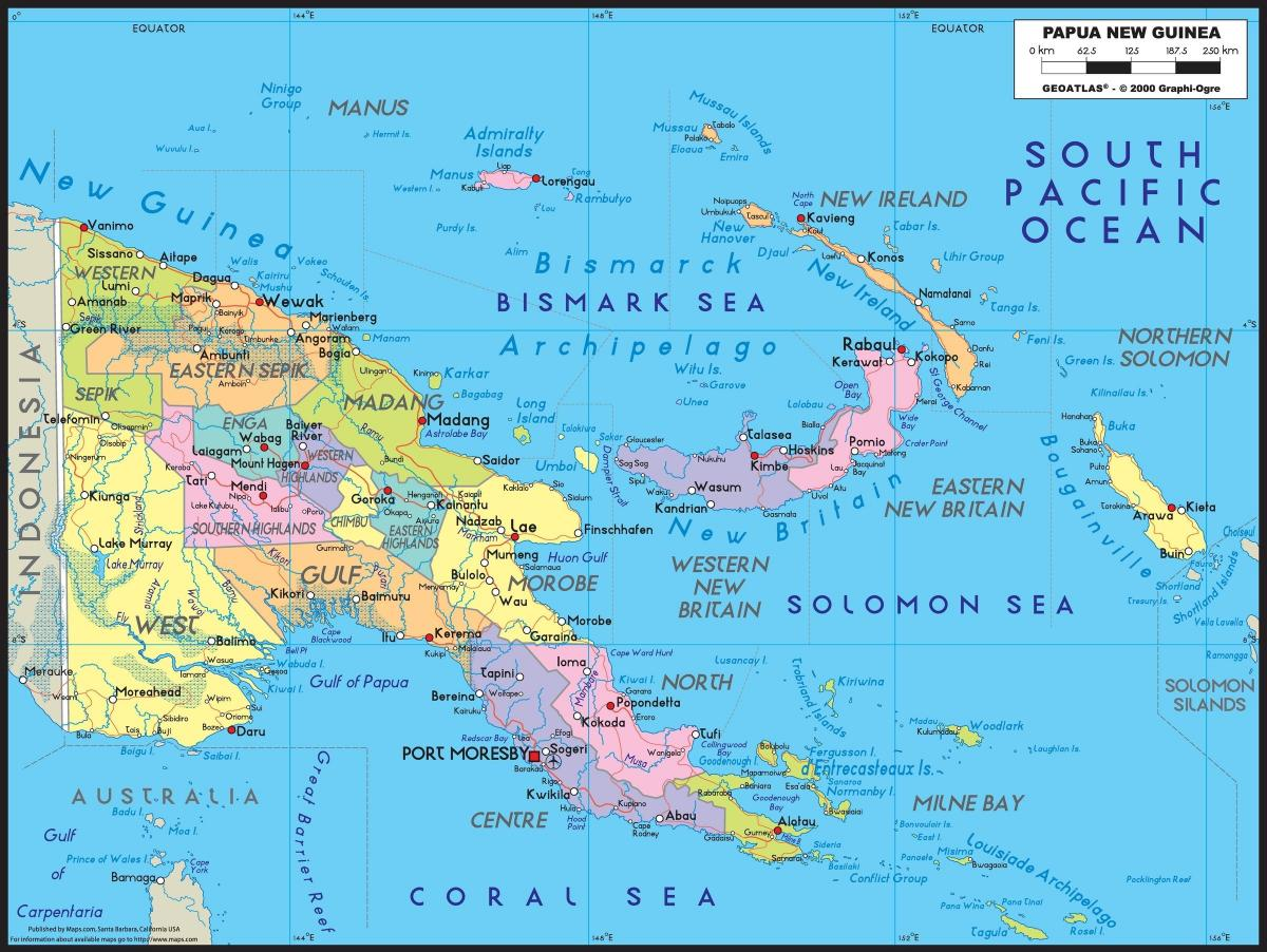 detailed map of papua new guinea