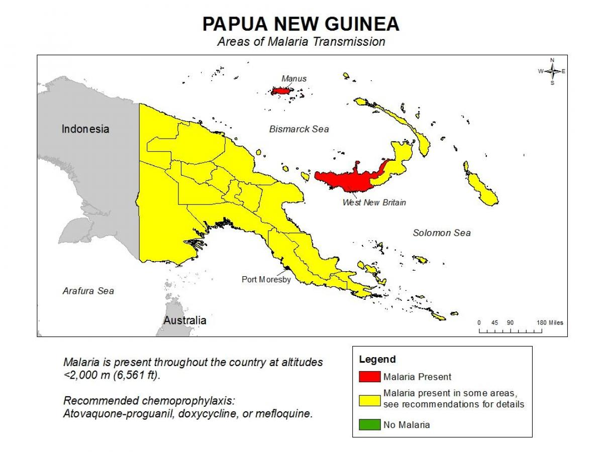 map of papua new guinea malaria