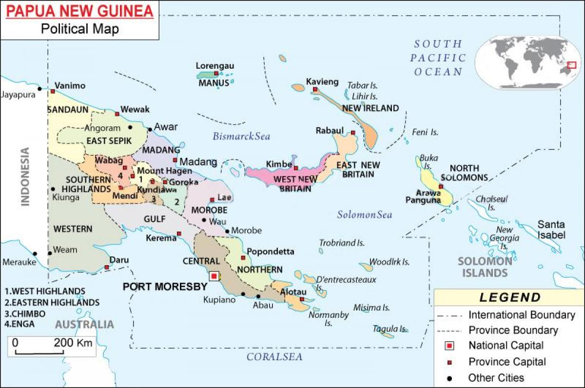 map of papua new guinea provinces